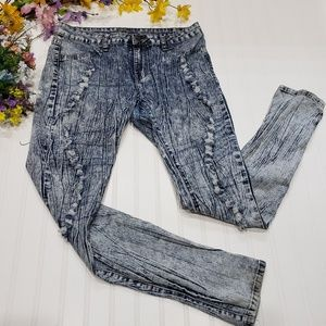 ACIDWASH Skinny Distressed Jeans 13/14 Stretchy